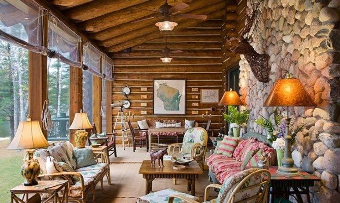 Nice Porch Log Homes Pinterest