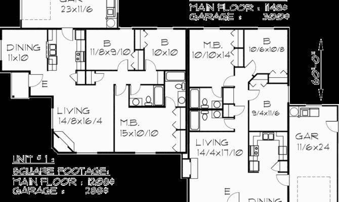 One Level Duplex House Plan Corner Lot Plans