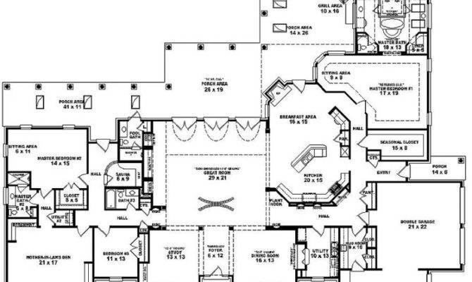 One Story Bedroom Bath Mediterranean Style House Plan Cool Design