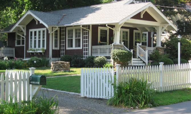 One Story Bungalow Painted Trim Earth Tone Shingles