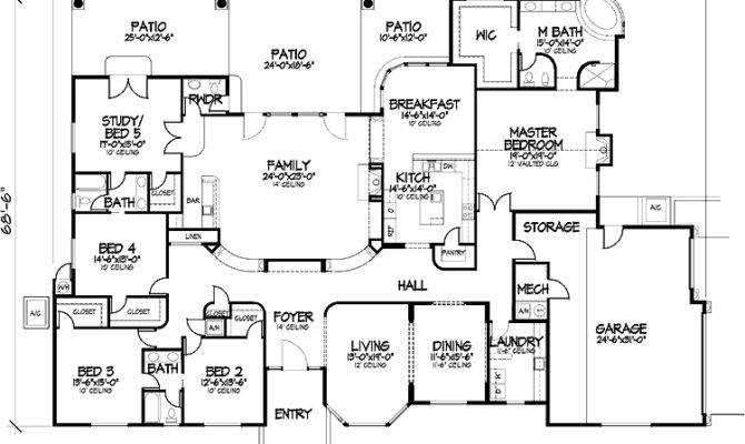 One Story Five Bedroom Home Plans Homepw