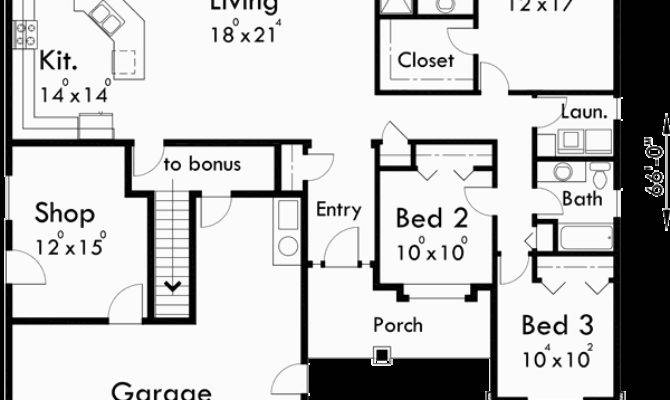 One Story House Plans Bonus Room Over