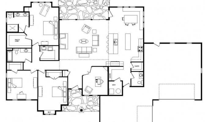 One Story Log Home Plans House