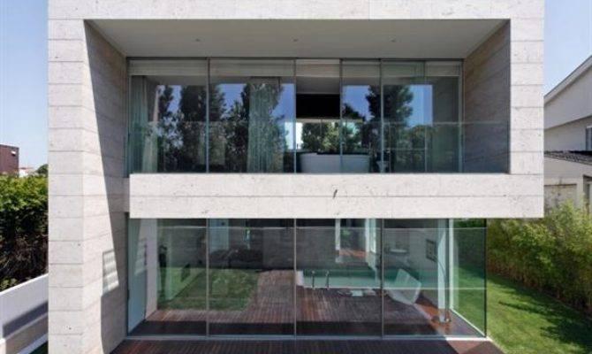 Open Block Modern Glass Concrete House Design