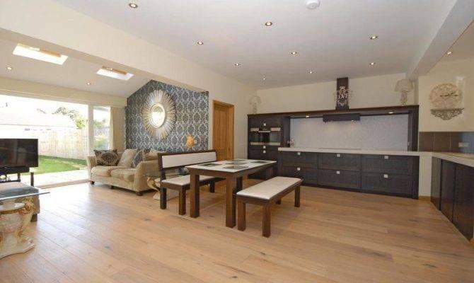 Open Plan White Maple Dining Room Kitchen Living