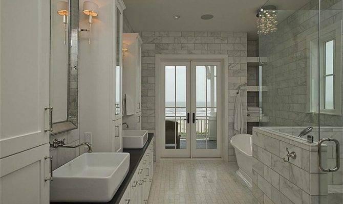 Open Shower Ideas Transitional Bathroom Lake Jane