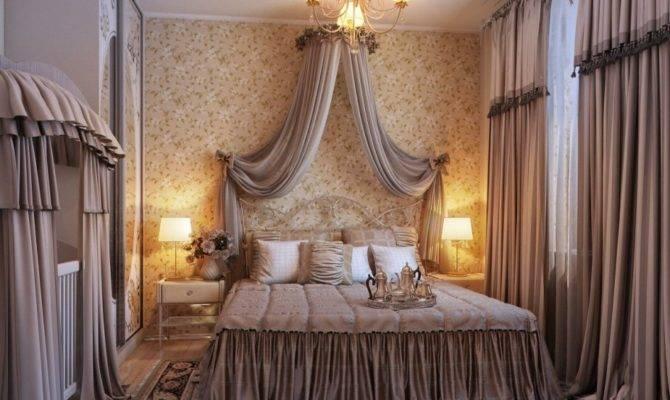 Opulent Romantic Bedroom Design Chandelier Gorden Fur Rug Bed