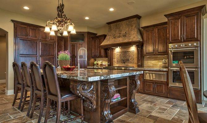 Ornate Kitchen Design Tuscan Inspired Island