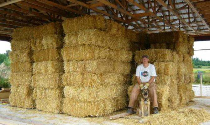 Our Straw House Garage Bale Preparations
