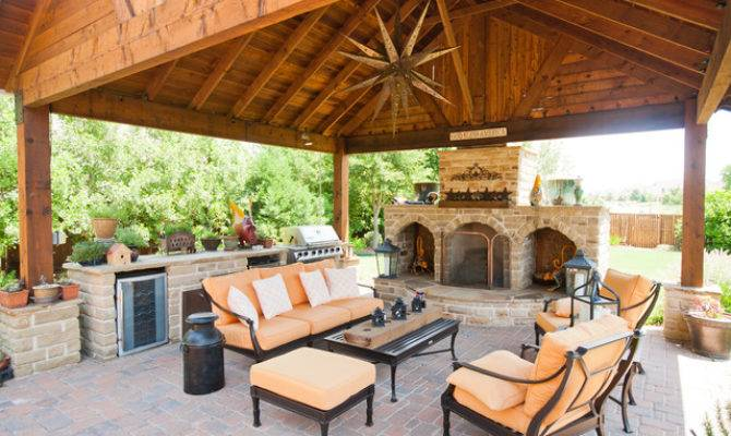Outdoor Entertainment Area Covering Fireplace