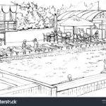 Outdoor Swimming Pool Expensive Hotel Drawing