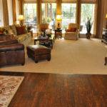 Patterned Carpet Hand Scraped Wood Floor Traditional