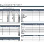 Personal Monthly Budget Worksheet Excel Word Document Templates