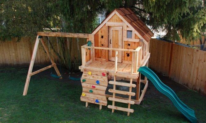 Playhouse Swing Set Wood Play House