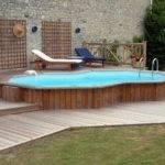 Pool Backyard Designs Small Semi Inground Wooden Deck Fence