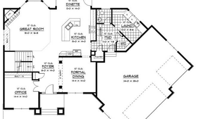 Prairie Style House Plan Angled Garage