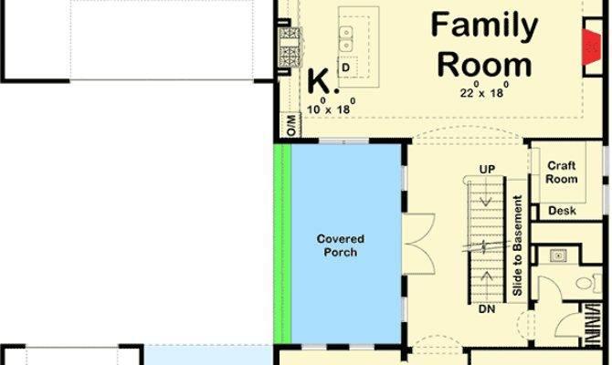 Prairie Style House Plan Porte Cochere