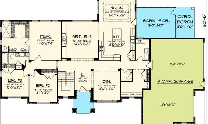 Rambling Bedroom Ranch Home Plan Floor