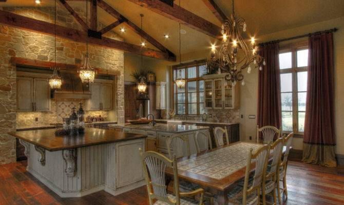 Ranch Home Rustic Kitchen Houston Sweetlake