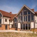 Rear Exterior Large Country House Oak Frame Glazed Gables