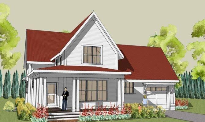 Rear Simple Farmhouse Plan Wrap Around Porch
