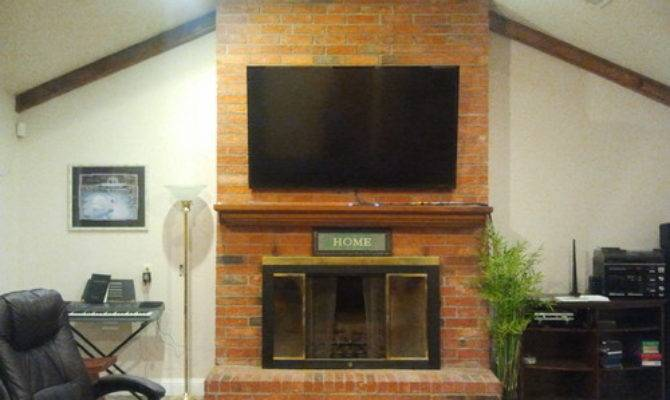 Reface Floor Ceiling Brick Fireplace
