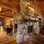 River Rock Fireplace Log House New Home Pinterest