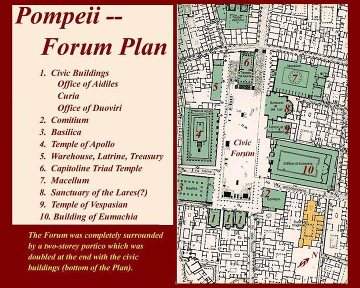roman forum map labeled plan pompeii home plans
