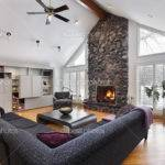 Room Two Story Stone Fireplace Lmphot
