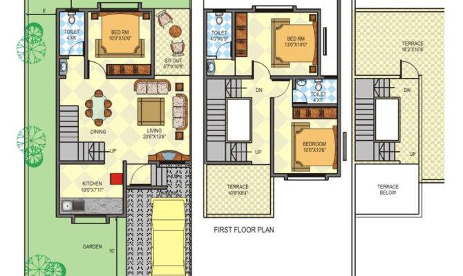 Row House Plans Story Planskill Modern