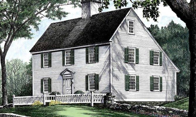Saltbox Style Historical House Plan