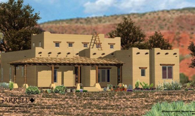 Santa House Plan Front Elevation Southwestern Plans