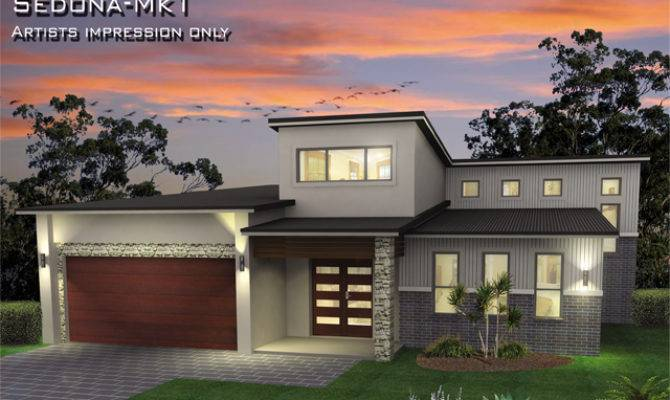 Sedona Mki Tri Level Metro Facade Skillion Roof Home