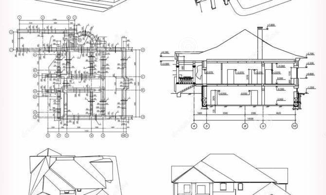Set Houses Blueprint Vector