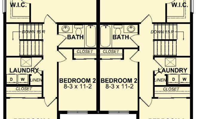 Side Craftsman Duplex House Plan