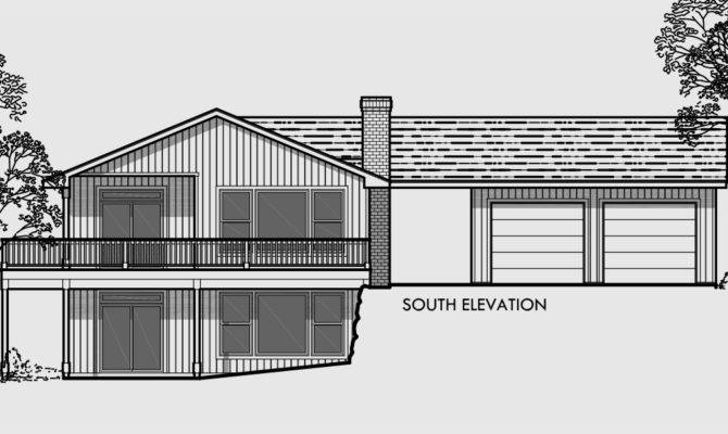 Side Sloping Lot House Plan Walkout Basement Detached Garage