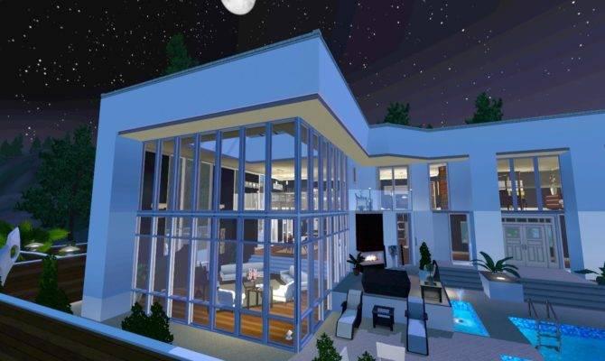 Sims Luxury Hill Side Glass Mansion Walkthrough