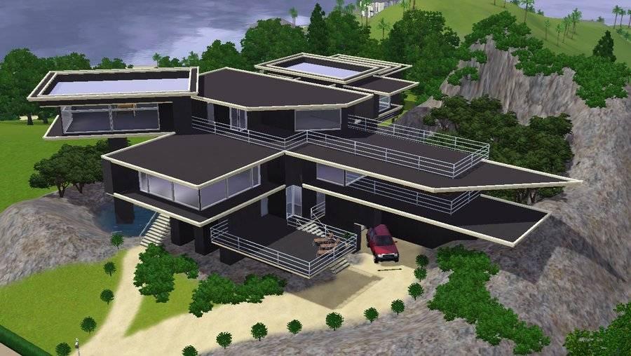 Sims Modern Grey Luxury Hillside Mansion Ramborocky - Home ...