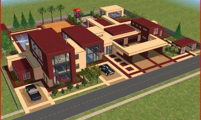 Sims Modern Red Mansion Ramborocky Deviantart