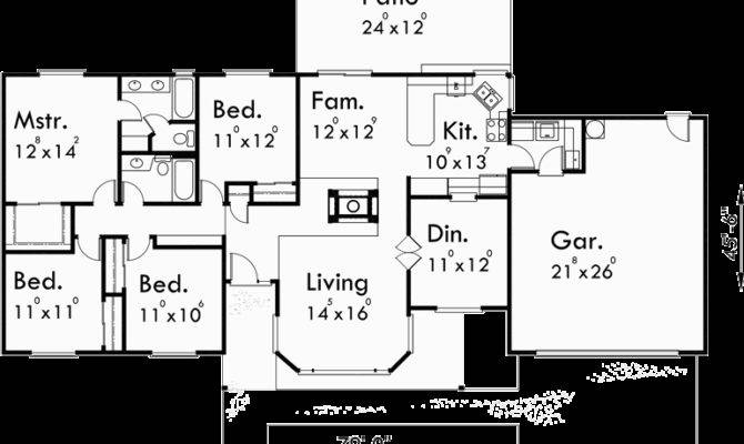 Single Level House Plans Ranch Bedroom
