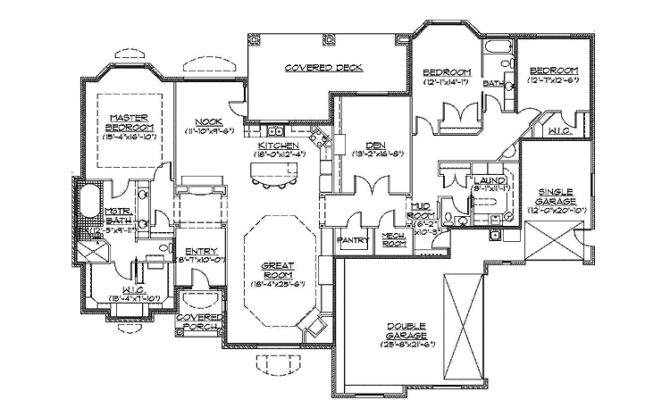 Slab Grade Rambler Home Hmaffdw Traditional House Plan