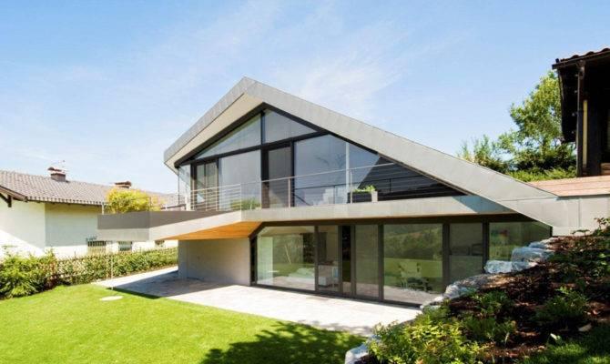 Slope Roof House Futuristic Interiors