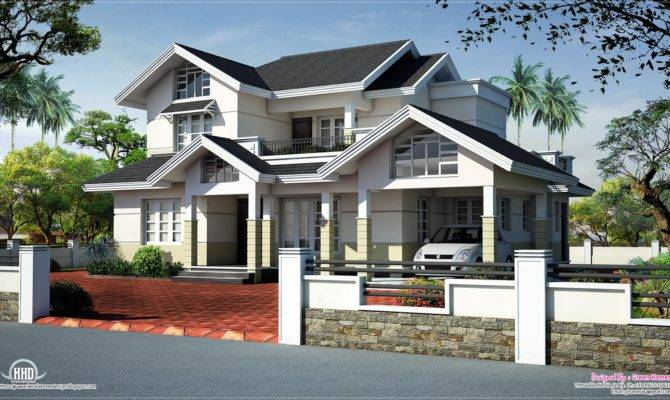 Sloped Roof House Elevation Design Kerala Home