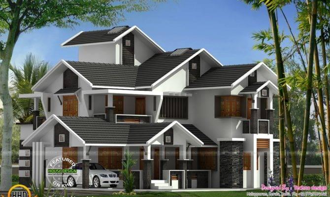 Sloped Roof Modern Home Kerala Design Floor Plans