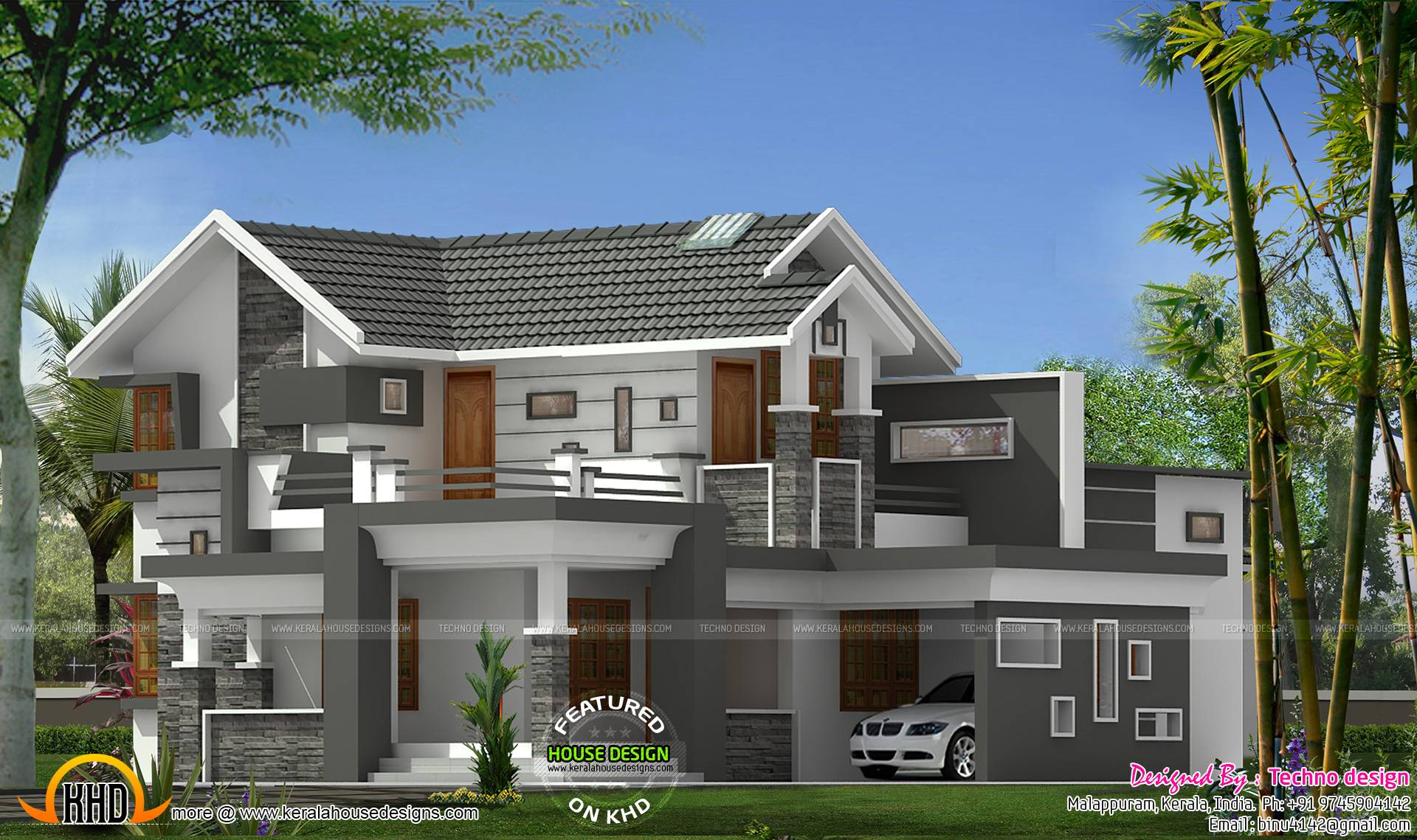 Sloped Roof Modern Mix House Kerala Home Design Floor Plans Home Plans Blueprints 47276
