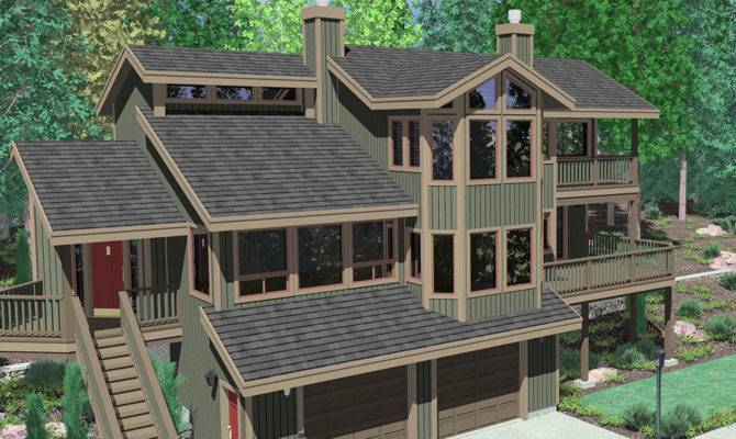 Sloping Lot Walkout Basement House Plans Home Design