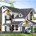 Sloping Roof Home Exterior Feet Kerala Design