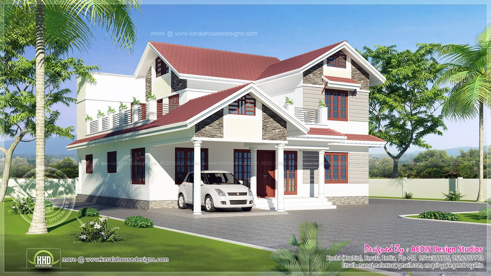 Sloping Roof House Exterior Sqm Home Kerala Plans Home Plans Blueprints 6072