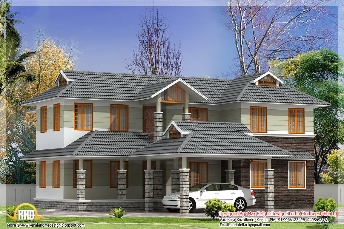 Sloping Roof Indian House Elevation Home Plans Blueprints 90206
