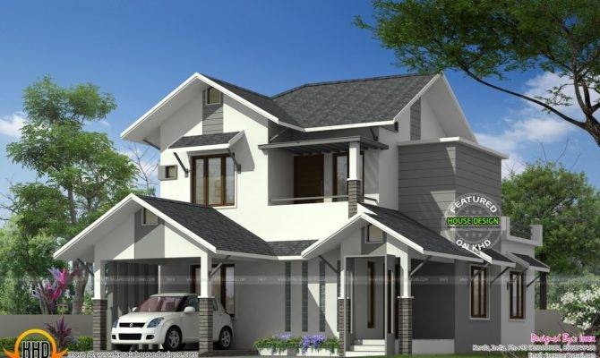 Sloping Roof Modern Home Kerala Design